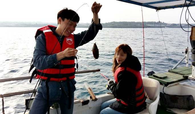 Deep Sea Boat Fishing near Seongsan Ilchulbong (Sunrise Peak) in Jeju Island